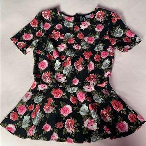 H&M peplum crew neck short sleeve pink floral top